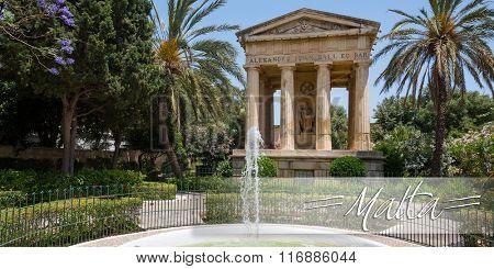 postcard with Valletta, Malta - 25 May 2015: picturesque view on Lower Barrakka Gardens in Valletta in Malta