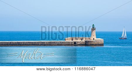 postcard with lighthouse in Valletta port of Malta on misty sea background with a ship