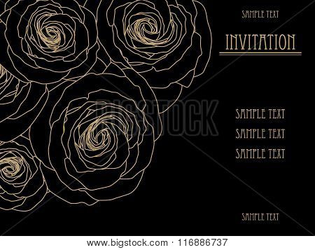 Black and gold invitation card with big roses, gold fashion pattern design.