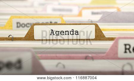 Agenda Concept. Folders in Catalog.