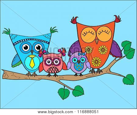 Cute vector colorful owls on the tree