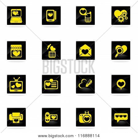 love messages icon set