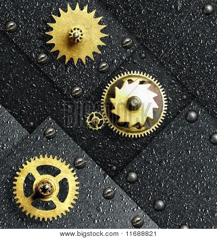 Gold Gears Against Ferrous Metal
