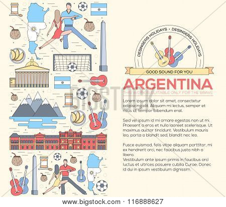 Country Argentina travel vacation guide of goods, places and features. Set of architecture, fashion,