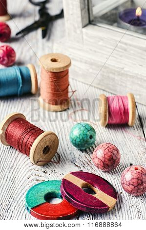 Beads And Sewing Thread