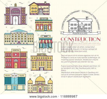 Thin lines colorful vector city buildings set. Icon background concept design. Architecture construc
