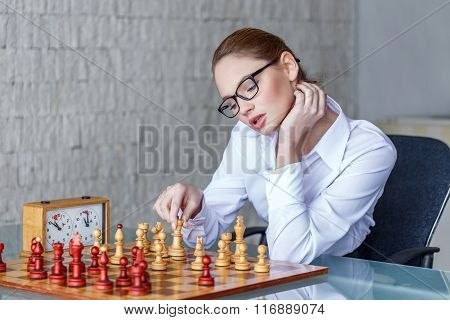 Sensual Businesswoman Moving Winning Combinaton