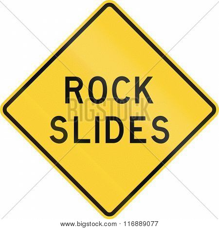 Road Sign Used In The Us State Of Texas - Rock Slides