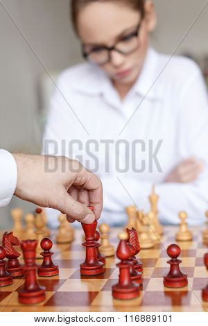 Man Hand Move King On Chessboard