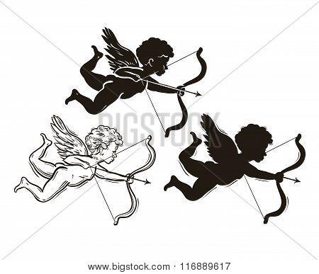 three cute Valentine's angel silhouette