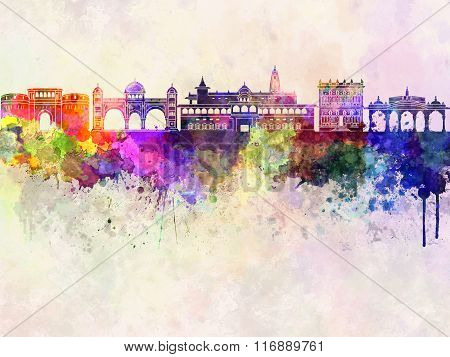 Pune Skyline In Watercolor Background