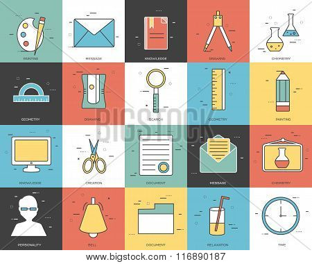 Line icons set of office collection concept. Modern vector pictogram with flat design elements desig