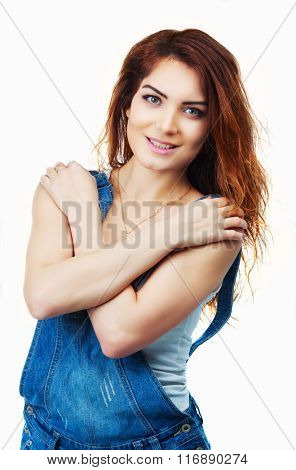 beautiful smiling woman, isolated against white background