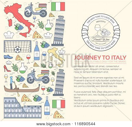 Country Italy travel vacation guide of goods, places and features. Set of architecture, fashion, peo