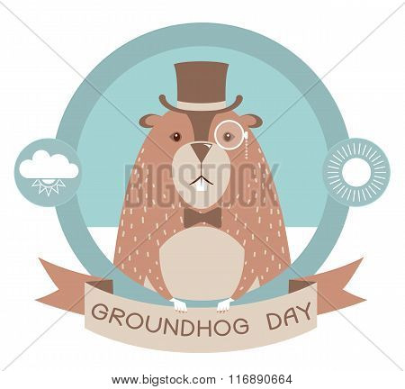 Happy Groundhog Day Label Isolated On White