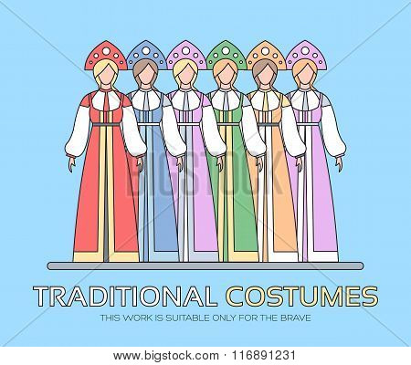Russian national clothes illustration. Women's traditional dresses background concept. Vector elemen