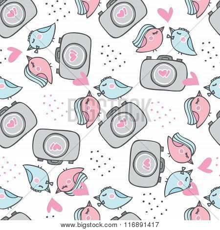 Romantic Seamless Pattern For Valentines Day