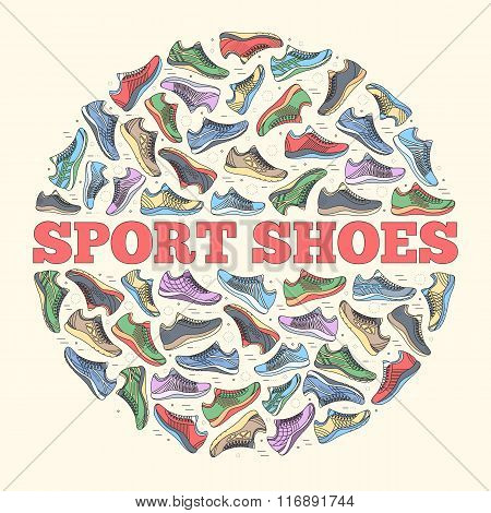 big flat illustration collection set of sneakers running, walking, shopping, style backgrounds. Vect
