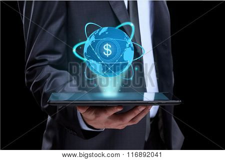 Businessman holding tablet with a projected on-screen icon online trading dollar. business Internet