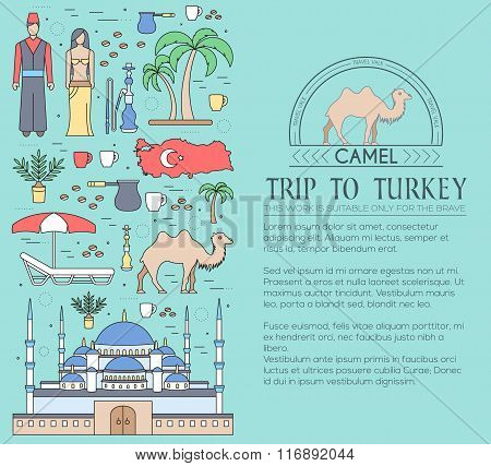 Country Turkey travel vacation guide of goods, places and features. Set of architecture, fashion, pe