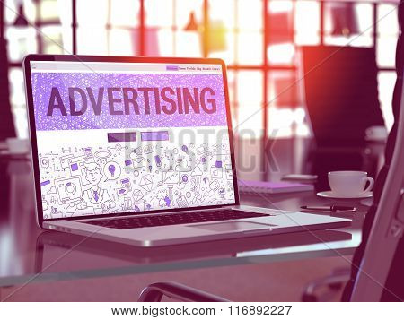 Laptop Screen with Advertising Concept.
