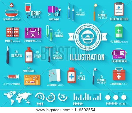 big collection set of medical equipment icons with text. Illustration elements with medicine label o