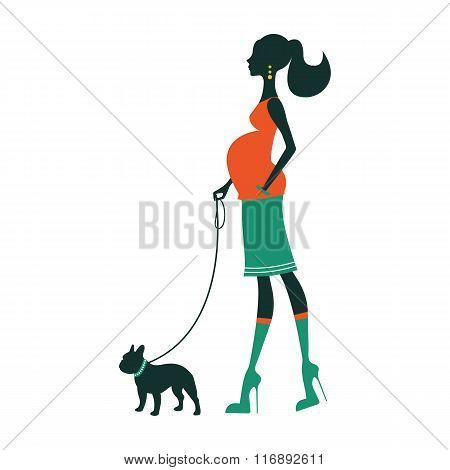 Beautiful woman silhouette with french bulldog