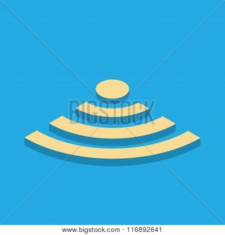 Beige volume icon wi-fi on a blue background.