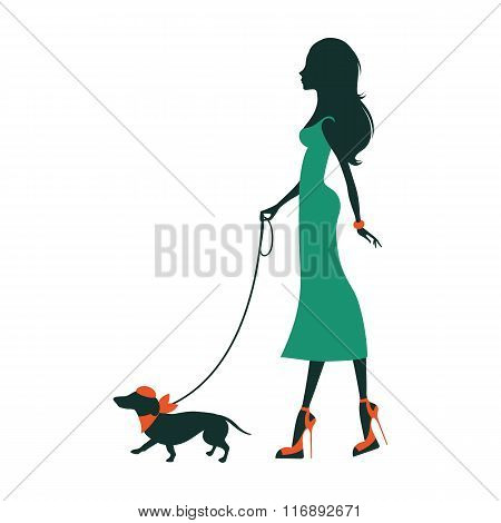 Illustration of a Beautiful woman silhouette with dachshund