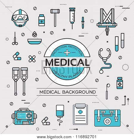 set flat medical icons illustration concept. Vector background with medicine label. Thin lines outli
