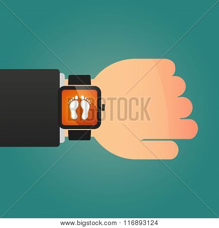 Man Showing A Smart Watch With Two Footprints