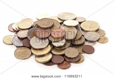 Coins on the white background