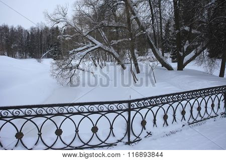 iron fencing winter bridge Pavlovsk Park Saint-Petersburg, Russia