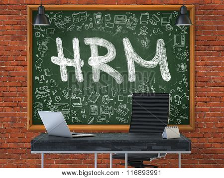 Hand Drawn HRM on Office Chalkboard.