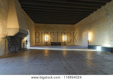 THUN SWITZERLAND - JANUARY 1 2014: Interior of a hall in Thun Castle. Thun Castle is a Castle Museum in Thun in Swiss canton of Bern where the Aare river flows out of Lake Thun