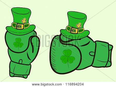 Boxing gloves with a shamrock