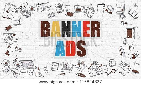 Banner Ads on White Brick Wall.
