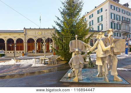 BAD RAGAZ SWITZERLAND - JANUARY 5 2015: Spa house with People monument. Bad Ragaz is a city in St. Gallen in Switzerland over Graubunden Alps. The Spa and recreation is at the end of Tamina valley
