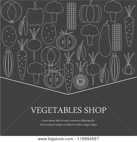 Sign store vegetables. vegetables on a gray background.