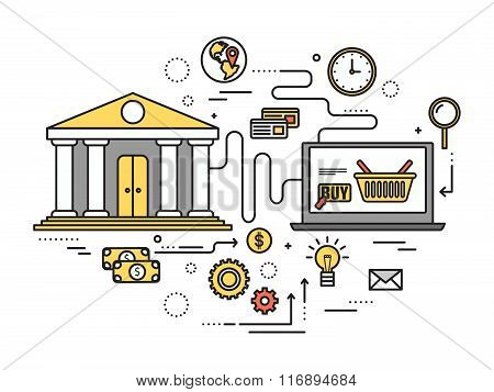 Thin line online shopping modern illustration concept. Infographic way from the bank to purchase thr