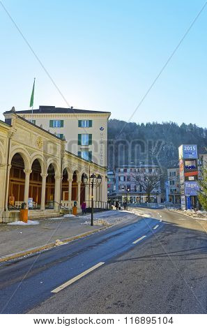 BAD RAGAZ SWITZERLAND - JANUARY 5 2015: Spa house. Bad Ragaz is a city in canton St. Gallen in Switzerland. It lies over Graubunden Alps. Spa and recreation village is at the end of Tamina valley