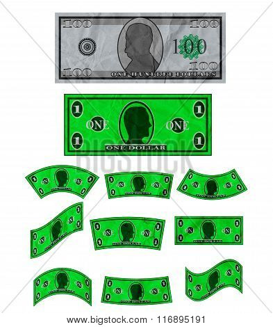 Crumpled Banknotes Shapes Isolated on White Background