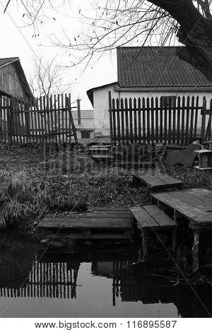 Monochrome Rural Landscape In The Suburbs
