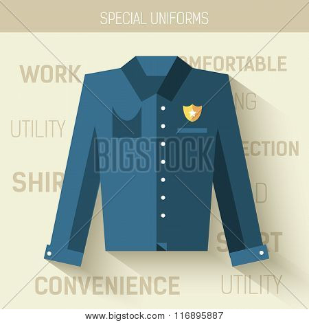 Work uniform for protection people.  Vector icon illustration background. Colorful template for you