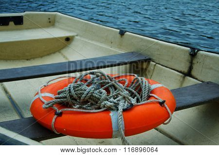 The Boat Close Up With A Lifebuoy
