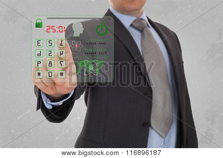 Man pressing the security code.