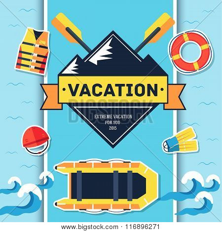 Rafting elements on blue background poster in sticker style design. Vector illustration template car