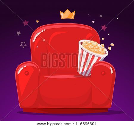 Vector Illustration Of Red Cinema Armchair With Popcorn On Purple Background.