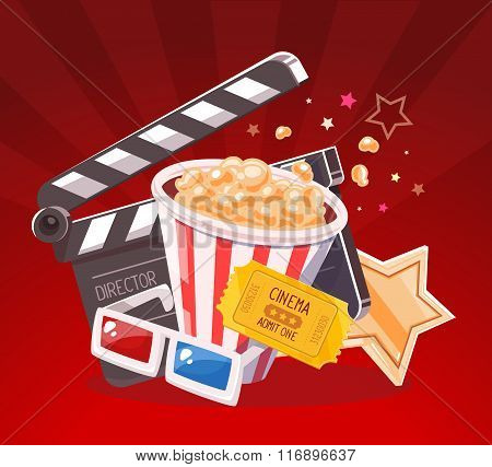 Vector Realistic Illustration Of Cinema Glasses, Clapper, Popcorn, Yellow Ticket And Star On Red Bac
