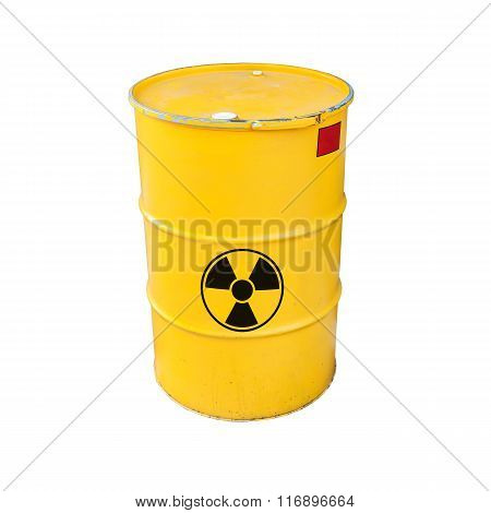Yellow Radioactive Barrel Isolated On White